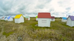 Colourful homes in front of the sea, Normandy, France Stock Footage