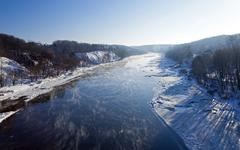 Winter river ,  Belarus Stock Photos