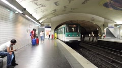 PARIS – JUNE 12, 2015: City subway station. Metro is the best way to move along Stock Footage