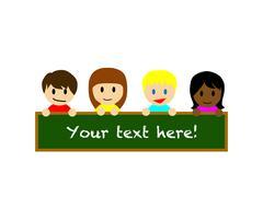 Happy boys and girls holding a empty blackboard - stock illustration