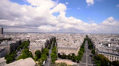 Aerial view of Paris from Triumph Arc Stock Footage