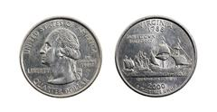 American quarter dollar isolated Stock Photos