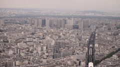 Aerial view of Paris from Montparnasse Tower Stock Footage