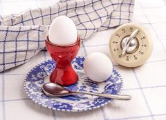 two morning eggs for breakfast - stock photo