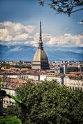 Panoramic view of Turin city center, in Italy Stock Photos