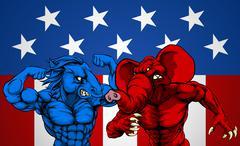 American Politics Elephant Donkey Fight Stock Illustration