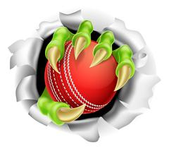Claw with Cricket Ball Breaking out Of Background - stock illustration