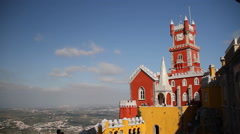 Pena Palace in Sintra, Portugal, castle, monument Stock Footage
