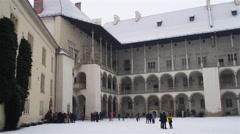 Arcades of Sigismund I in Wawel Castle, Krakow Stock Footage