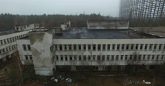 Abandoned office building in the Chernobyl exclusion zone. Stock Footage