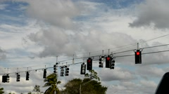 Red traffic lights shifted by wind Stock Footage