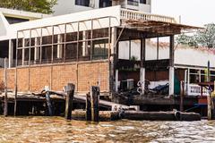 Dilapidated pier - stock photo