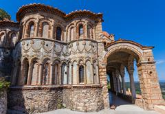 Byzantine church in medieval city of Mystras - stock photo