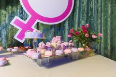 Candy bar on gender reveal party Stock Photos