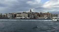 Istanbul skyline from the river Stock Footage
