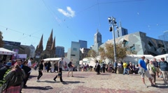 MELBOURNE – OCTOBER 23, 2015: Federation Square on a beautiful day. This is the Stock Footage