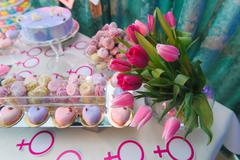 Candy bar on gender reveal party - stock photo