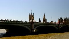 Westminster Bridge over river Thames - stock footage