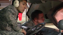 FORT WALTON USA, MARCH 2016, Close Up US Air Force Driver Of Transport Wheeler Stock Footage