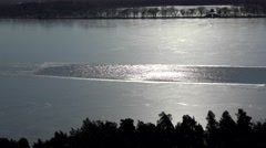 Open water of the frozen Kunming lake at Summer Palace. Beijing, China Stock Footage