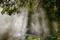 Water spray in the sunlight - stock photo