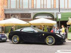 Ferrari 599 GTB Fiorano with a black velvet wrap - stock photo