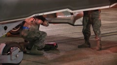 FORT WALTON USA, MARCH 2016, Detail US Air Force Two Soldier In Bomb Bay - stock footage