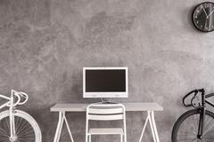 Simple home office in monochromatic style Stock Photos