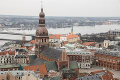 View at Riga from the tower of Saint Peter's Church, Riga, Latvia - stock photo
