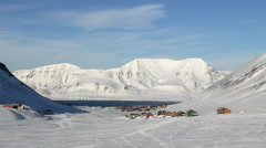 Longyearbyen, Svalbard. The small town is surrounded by mountains. Stock Footage