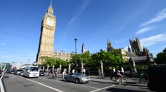 LONDON – MAY 22, 2015: Tourists along Westminster streets. London attracts 30 Stock Footage