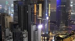HONG KONG – APRIL 19: Night city panoramic view. Hong Kong attracts 10 million - stock footage