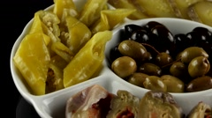 Marinated Pickled (eggplant, cucumbers, turnips, olives), loop Stock Footage