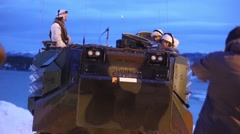 NAMSOS NORWA, MARCH 2016, US Amphibious Vehicle Stand At Snowy Beach Stock Footage