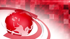 3d news themed globe red background loop - stock footage