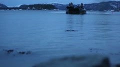 NAMSOS NORWA, MARCH 2016, US Amphibious Vehicle Swim In Water Beach Stock Footage