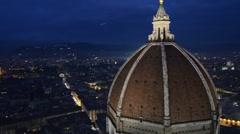 Florence panorama at night with Duomo Stock Footage