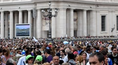 ROME – MAY 18, 2014: People in St Peter Square during Angelus. This is the day Stock Footage