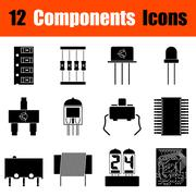 Set of electronic components icons - stock illustration