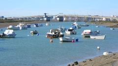 Boats at the Cano del Trocadero, Puerto Real, old Cadiz bridge, Spain Stock Footage