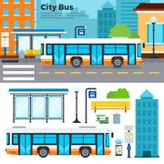 Bus on street in the city - stock illustration