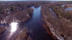 Peshtigo River winding through Northern Wisconsin wilderness Stock Footage
