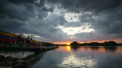 Time-lapse during storm coming at wetland in putrajaya Stock Footage