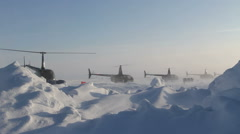 4 helicopters taking off one by one. Russian Ice Camp at the North Pole. Stock Footage