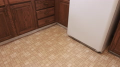 Old Kitchen Move Left and Right Down at Linoleum Floor Stock Footage