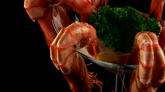 Prawn cocktail with pink sauce, loop - stock footage