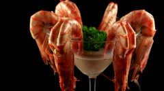Gourmet party food, shrimps in cocktail glass with pink sauce, loop - stock footage