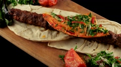 Turkish food, minced meat kebab, loop Stock Footage