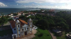 Aerial view of Carmo church in Olinda, Pernambuco, Brazil Stock Footage