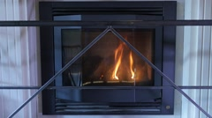 Fire in a fireplace in a professional Restaurant Stock Footage